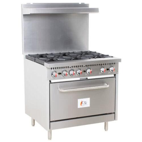 """36"""" 6 Burner Commercial Restaurant Natural Gas Range With 1 Oven"""