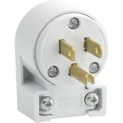 White Grounded Angle Cord Plug by Leviton 000-515AN-000