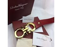 Gold buckle large statement fashion red leather belt ferragamo unfading perfect gift
