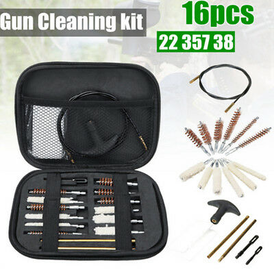 Universal 16PCS Gun Cleaning Kit Rifle Pistol Cleaner 22 357 38 40 44 45 9mm