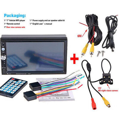 NEW 7'' 2 Din HD Rear View Car Radio Bluetooth FM MP5 with Digital Touch Screen