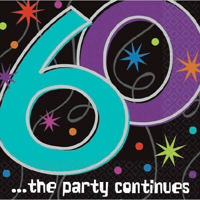 60th Table Decorations (60th Luncheon Napkins Milestone The Party Continues [16ct] Table)