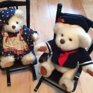 Brass Button Bears with Rocking Chairs
