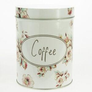 Retro Vintage Kitchen Coffee Tea Sugar Container Jar Metal Steel Polka Flower