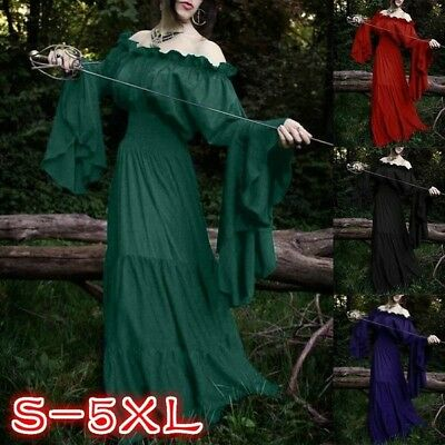 New Women Solid Color Off-Shoulder Ruffles Women's Renaissance Medieval Costumes](Medieval Costumes Women)