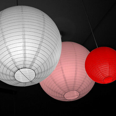 3er Pack Lampion Laterne Lampe Lampenschirm Reispapier Deko Party 10-40 cm ()