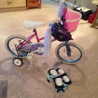 Small girls bike with accessories