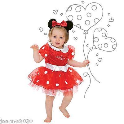 Mädchen Baby Kleinkind rot Disney Minnie Maus Kostüm Kleid Outfit & Stirnband