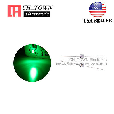 50pcs 1.5mm Led Diodes Transparent Water Clear Green Light Mini High Quality