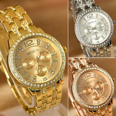 Women Men Geneva Bling Stainless Steel Quartz Rhinestone Crystal Wrist Watch