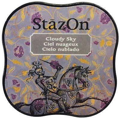 - New STAZ-ON  Rubber stamp SOLVENT Ink pad CLOUDY SKY GRAY free US ship