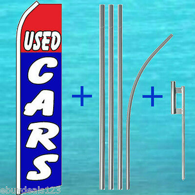 Used Cars Flutter Flag Pole Mount Kit Tall Curved Feather Swooper Banner Sign