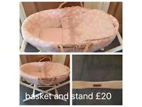 Mamas & Papas Moses basket and wooden stand