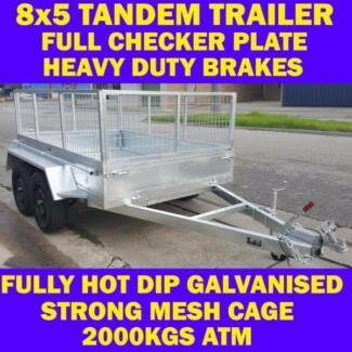 8x5 GALVANISED TANDEM TRAILER WITH CAGE BRAND NEW 2000KG 1