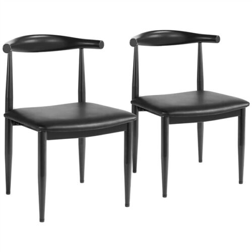 2pcs Dining Chairs Armless w/Backrest Modern Kitchen Chairs Metal Legs Black