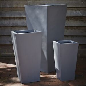 48cm Grey Fibrestone Contemporary Flared Planter/Tapered Garden Pot/Fluted Vase