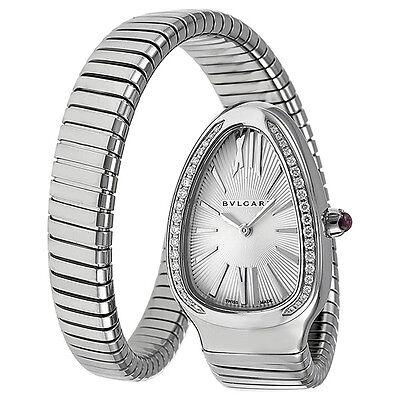Bvlgari Serpenti Diamond Silver Dial Stainless Steel Ladies Watch SP35C6SDS.1T