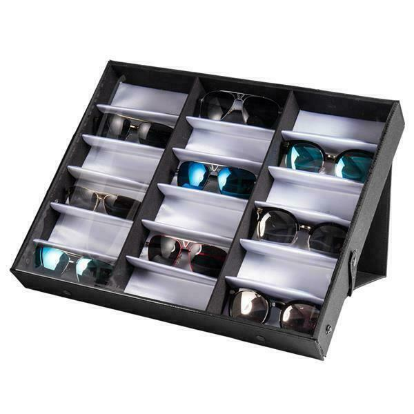 18pcs Eye Glasses Case Eyewear Sunglasses Display Storage Box Holder Organizer