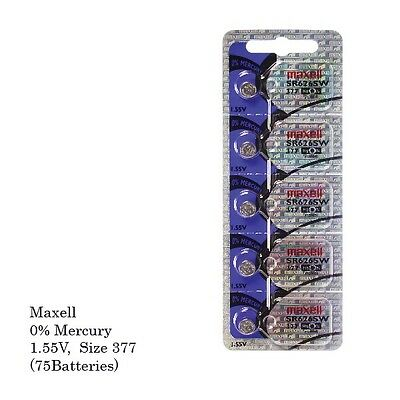 Maxell 377 Sr626sw Silver Oxide Watch Batteries (75 Pcs)