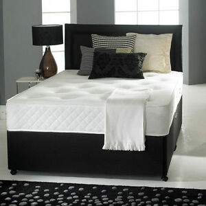 Pocket sprung memory foam black leather divan bed for Memory foam double divan bed sale