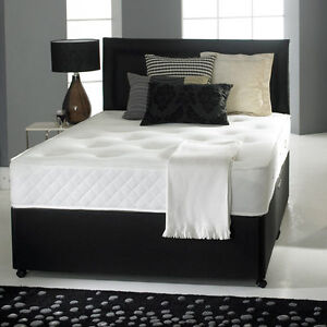 Pocket sprung memory foam black leather divan bed for Double divan bed no headboard