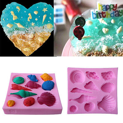 Sea Shells 10-Piece Summer Silicone Mould Beach Decoration Fondant Icing Cake