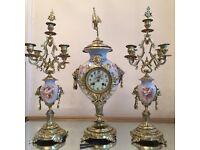 Antique brass ormolu porcelain clock garniture