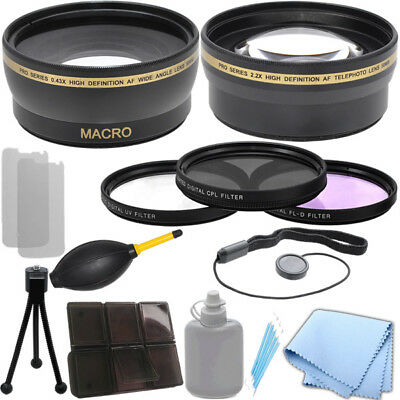Wide Angle Lens Kit - 58mm 0.43x Wide Angle 2.2x Telephoto Lens, Filter Kit for Canon T3 6D 7D