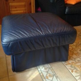 Good quality leather storage pouffes/footstools, dark blue.