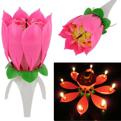 - Romantic Musical Lotus Flower Lights Happy Birthday Party Cake Candles Gift NEW
