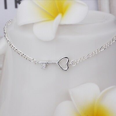 Sterling Silver 925 Key Crystal Anklet Bracelet Adjustable Free Gift Bag