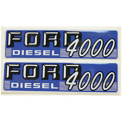 New Ford 4000 Diesel Hood Decal Set White Letters