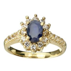 Gorgeous 14kt gold blue and white sapphire ring