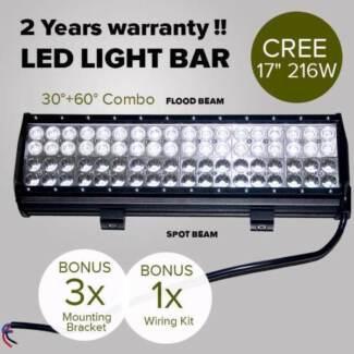 17inch 216W CREE LED Light Bar Spot Flood Light 4x4 Offroad Work