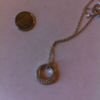 STERLING AND CZ CRESCENT CIRCLE PENDANT