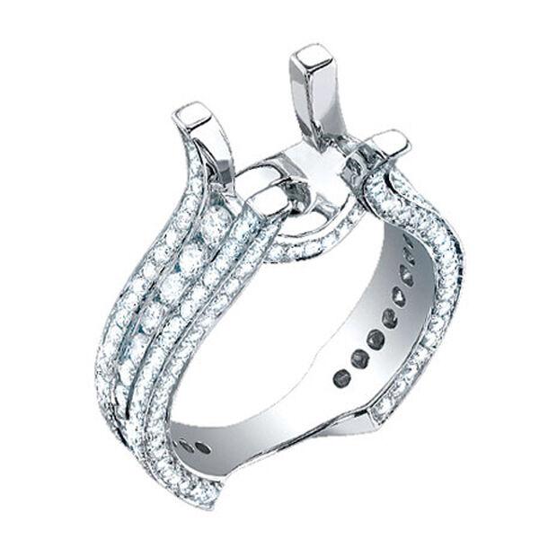 1.90CT Round Princess Diamond Semi Mount Engagement Ring Setting 18K White Gold