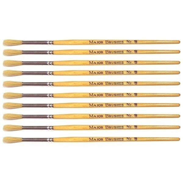 Major Brushes Hog Long Round Brushes Pack of 10 size 8