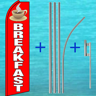 Breakfast Swooper Flag Pole Mount Kit Tall Curved Top Feather Flutter Banner