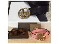 Pink or black leather Gucci GG belt