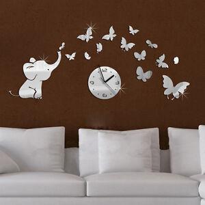 3d horloge murale el phant papillon pendule montre sticker - Pendule murale papillon ...