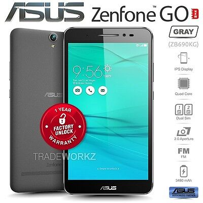 """Unlocked ASUS Zenfone GO ZB690KG Grey 6.9"""" IPS LCD Quad Core Android Cell Phone"""