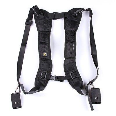 Black Double Shoulder Sling Belt Quick Release Rapid Neck Strap fr 2 DSLR Camera
