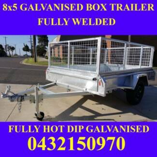 8x5 galvanised box trailer with mesh cage heavy duty 2