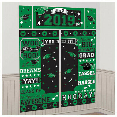 Graduation Class of 2019 Scene Setter Green Wall Backdrop Party Decorations Grad - Green Graduation