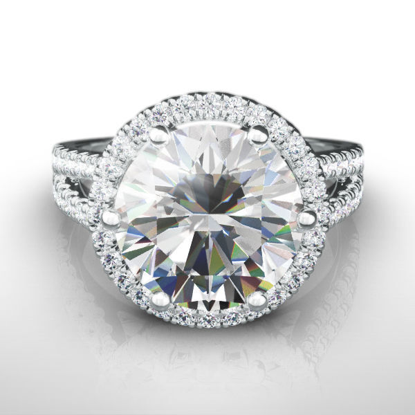 Halo Diamond Ring 5 Ct 18 Karat White Gold Si2 Certified Colorless Size 7 8 9