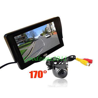 "4.3"" LCD Monitor Car Rear View Kit + Metal Reversing Parking Camera Sensor 170°"