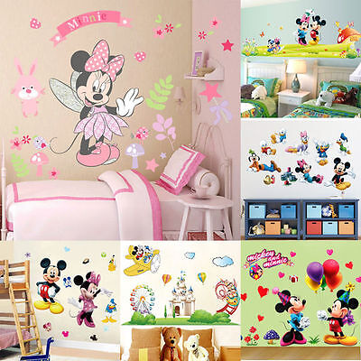 Minnie Stickers (Mickey Minnie Mouse Wall Sticker Cartoon Mural Vinyl Decal Kids Baby Room)