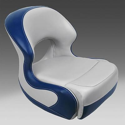 Classic Pontoon Boat Bucket Seat in Gray and Blue Pontoon Bucket Seat