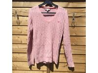 Pink cable knit Crew Clothing jumper size 8