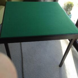 Nearly New Folding Card Table With Green Fabric Surface